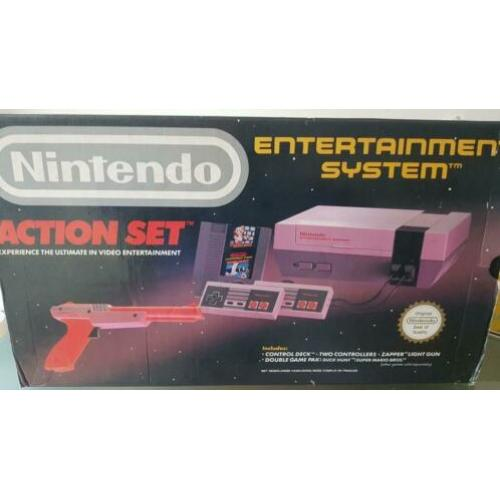 Nintendo, NES Action Set with Zapper, Duckhunt and Mario - C